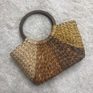 Handbags - Woven Straw Multicolor Wicker Purse